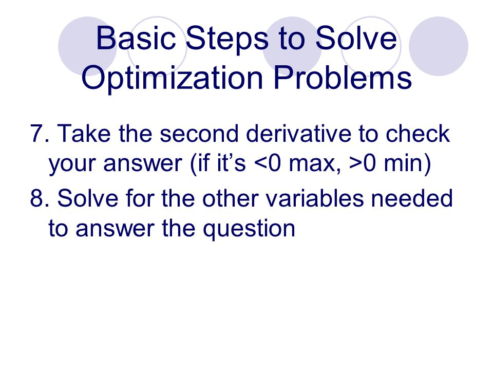 Basic Steps to Solve Optimization Problems