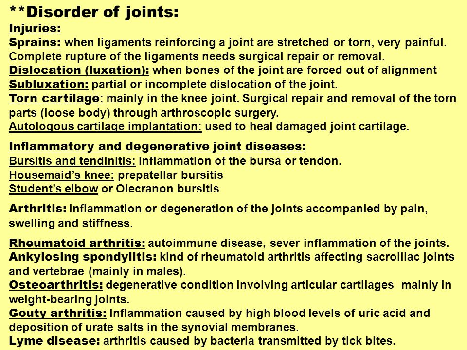 **Disorder of joints: Injuries: