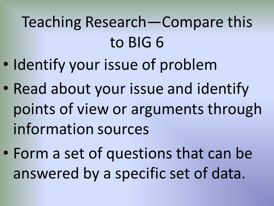 Teaching Research—Compare this to BIG 6