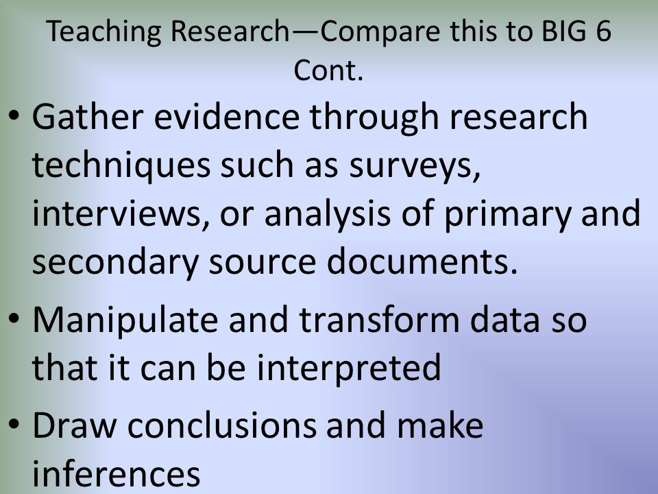 Teaching Research—Compare this to BIG 6 Cont.
