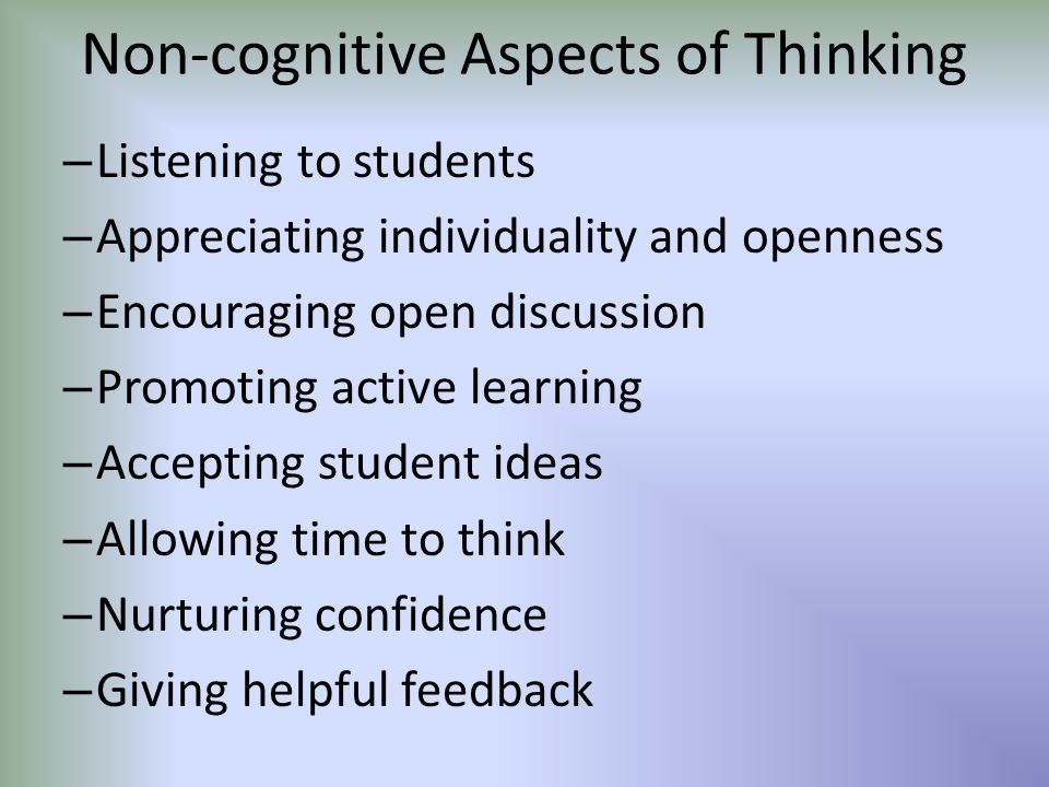 Non-cognitive Aspects of Thinking