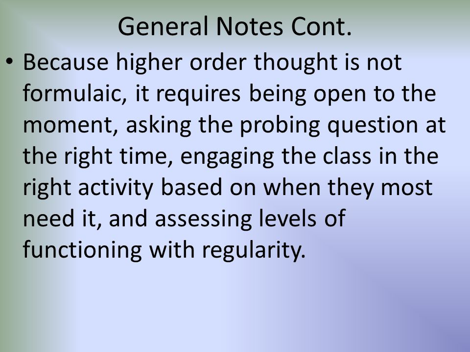 General Notes Cont.