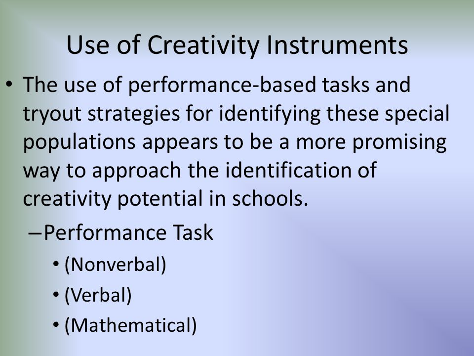 Use of Creativity Instruments