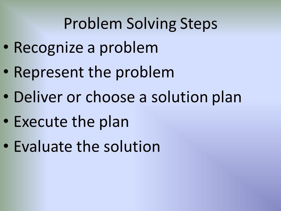 Problem Solving Steps Recognize a problem. Represent the problem. Deliver or choose a solution plan.