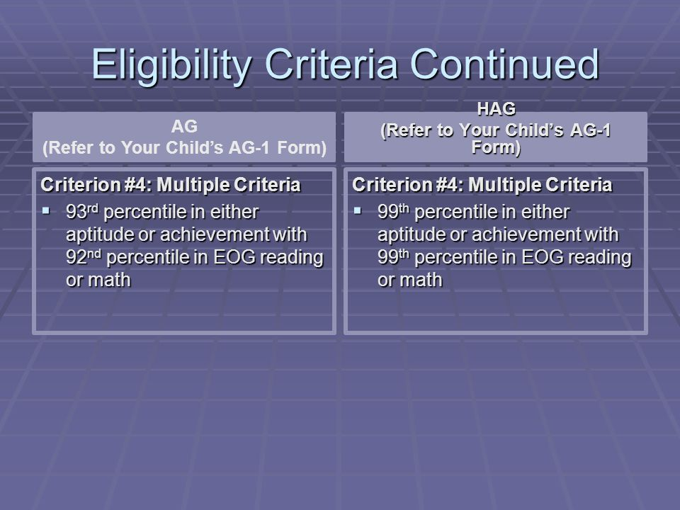 Eligibility Criteria Continued