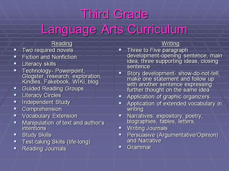 Third Grade Language Arts Curriculum