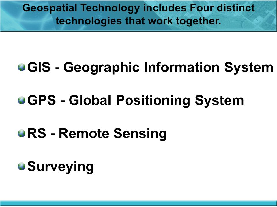 GIS - Geographic Information System GPS - Global Positioning System