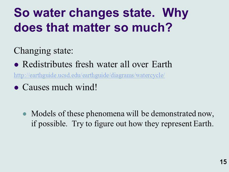 So water changes state. Why does that matter so much