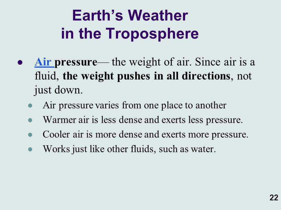 Earth's Weather in the Troposphere