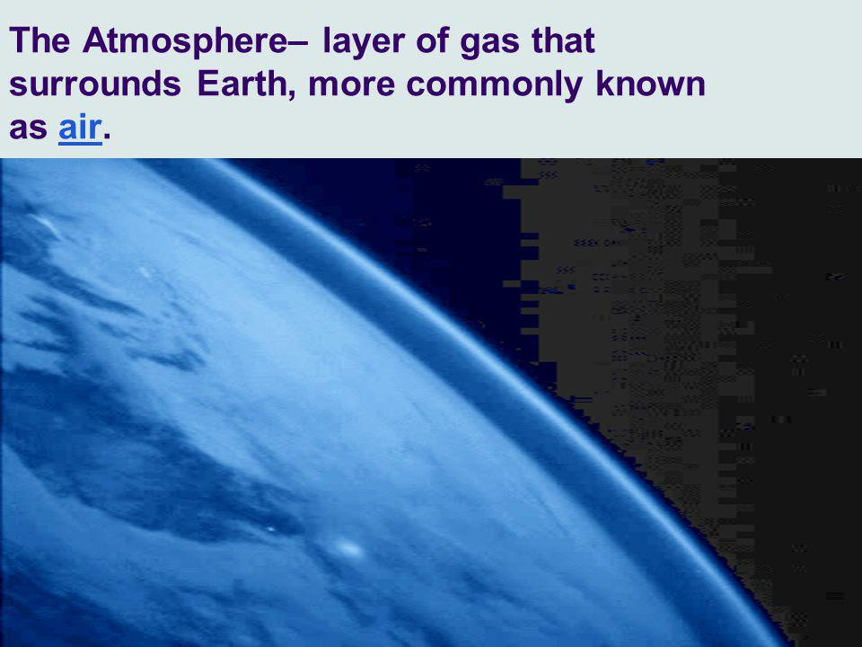 The Atmosphere– layer of gas that surrounds Earth, more commonly known as air.