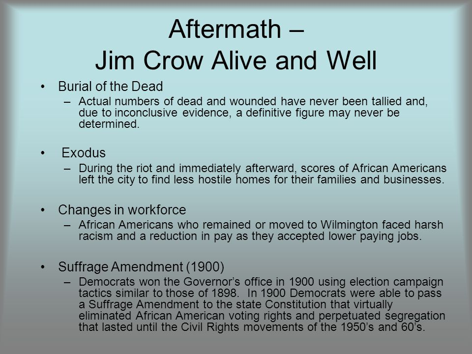 Aftermath – Jim Crow Alive and Well