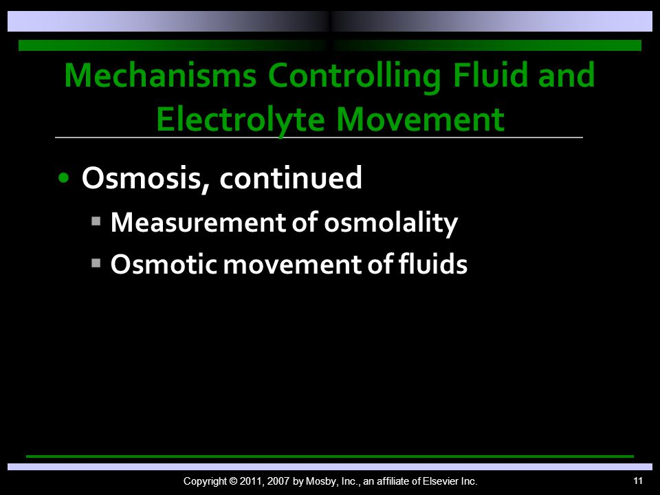 Mechanisms Controlling Fluid and Electrolyte Movement