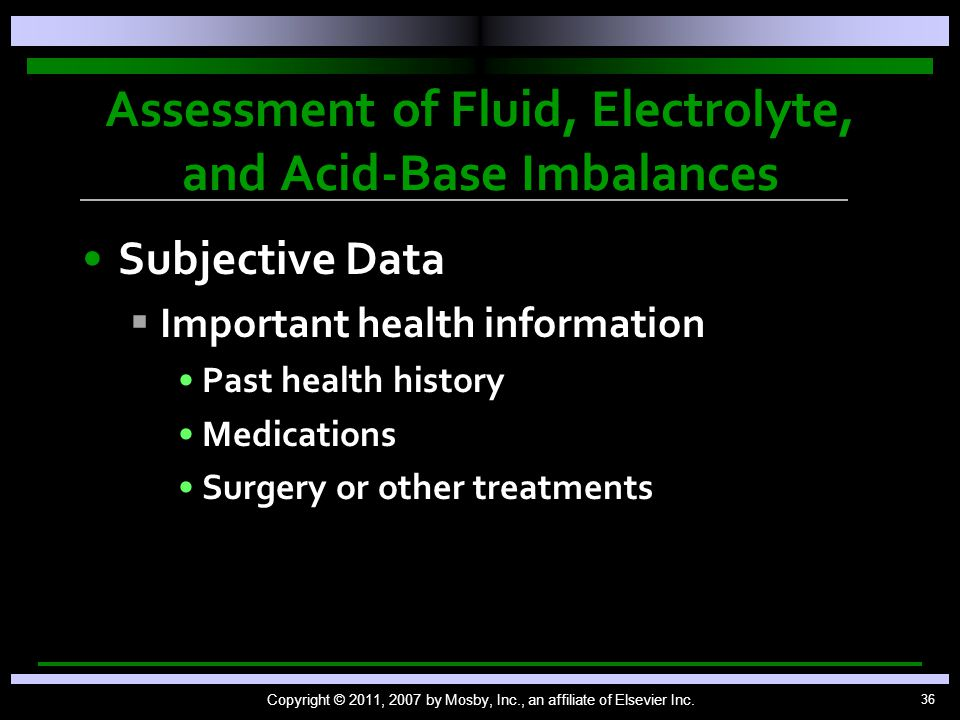 Assessment of Fluid, Electrolyte, and Acid-Base Imbalances