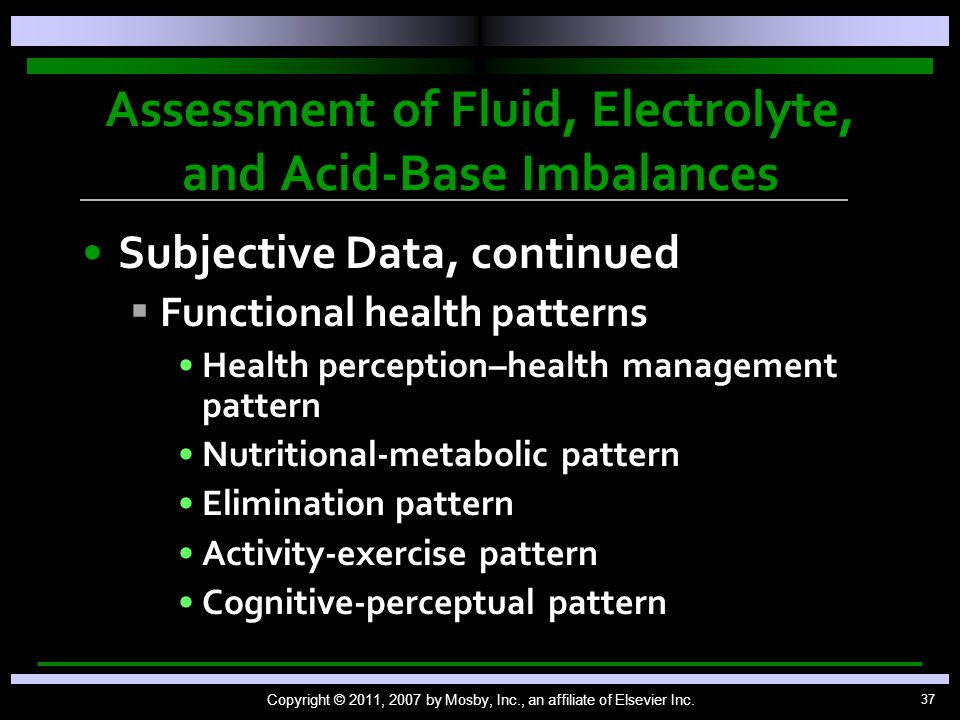 Assessment of Fluid, Electrolyte, and Acid-Base Imbalances