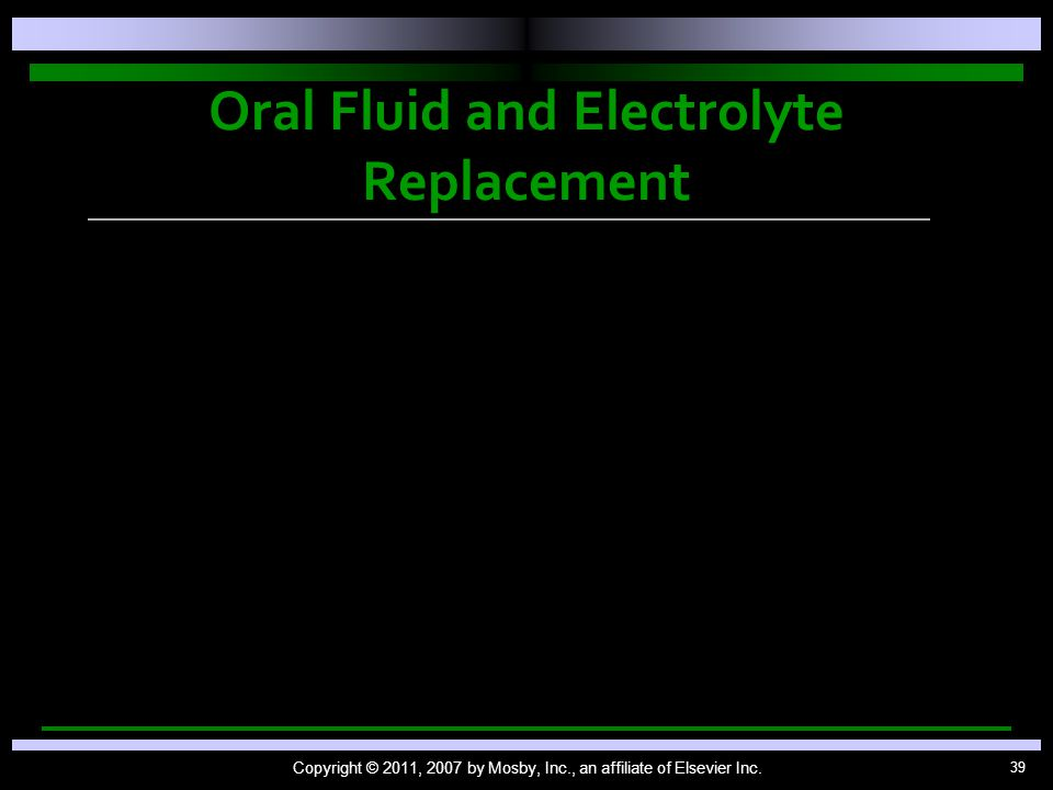 Oral Fluid and Electrolyte Replacement