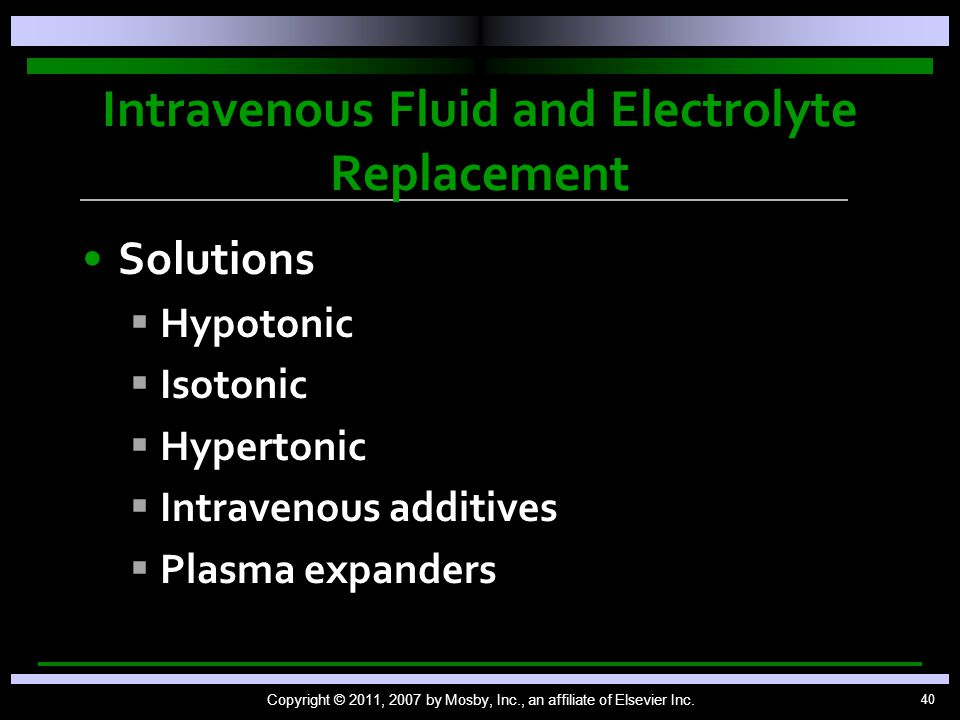 Intravenous Fluid and Electrolyte Replacement