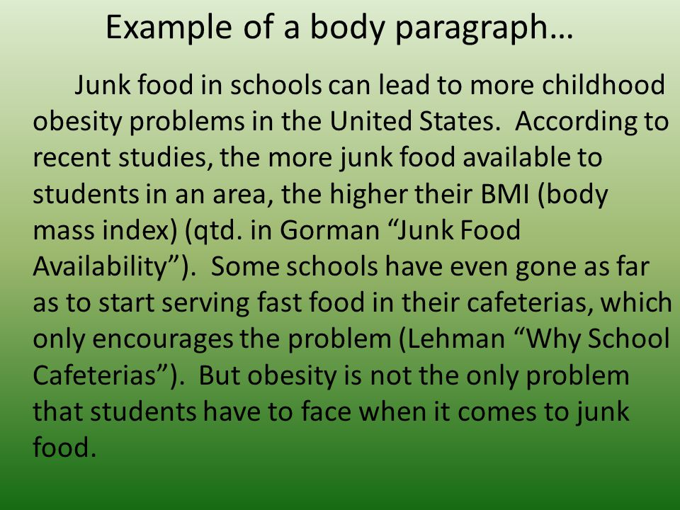 Fast Food Leads to Childhood Obesity Essay Sample