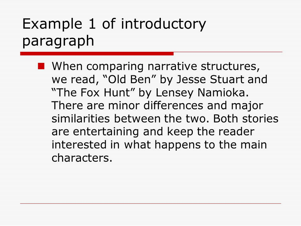 Example 1 of introductory paragraph