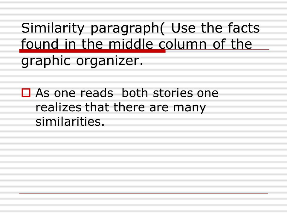 Similarity paragraph( Use the facts found in the middle column of the graphic organizer.