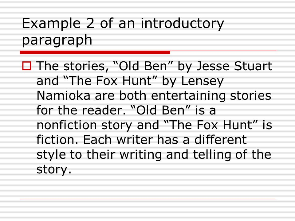 Example 2 of an introductory paragraph