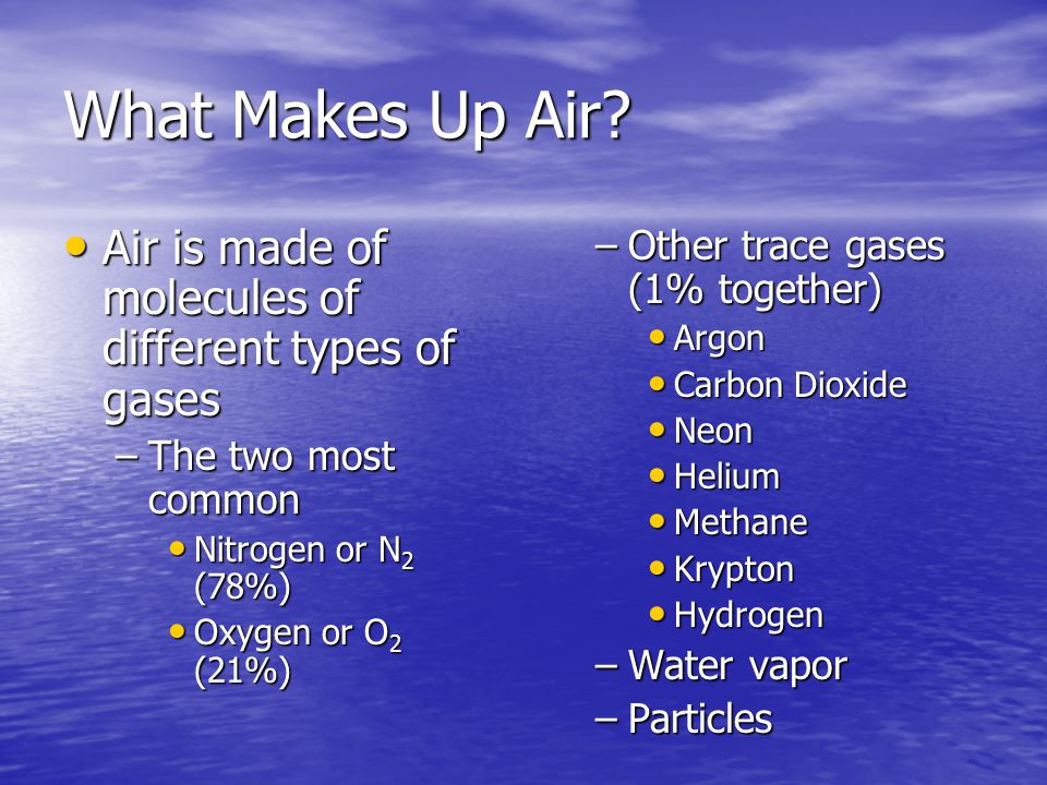 What Makes Up Air Air is made of molecules of different types of gases. The two most common. Nitrogen or N2 (78%)