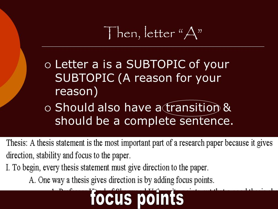 Then, letter A focus points