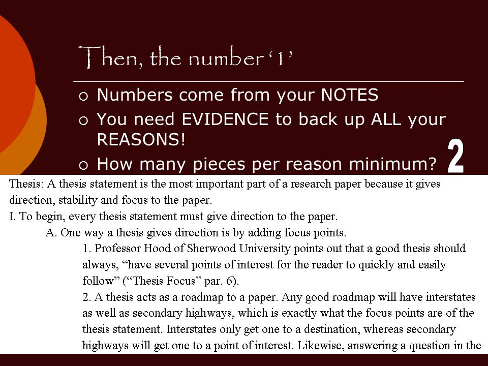Then, the number '1' 2 Numbers come from your NOTES