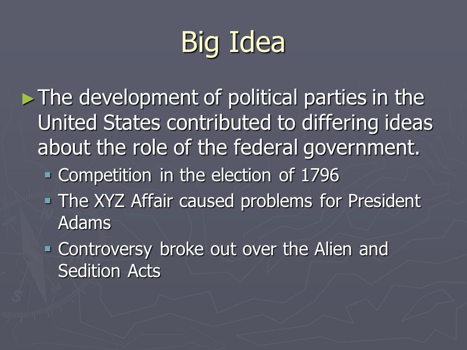 Big Idea The development of political parties in the United States contributed to differing ideas about the role of the federal government.