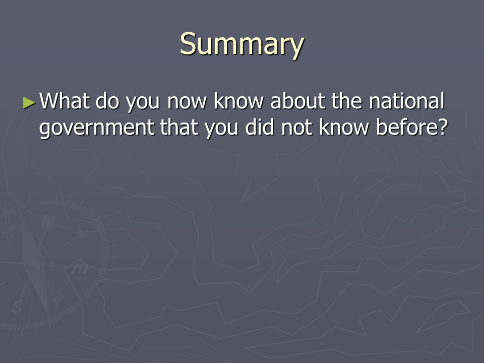Summary What do you now know about the national government that you did not know before
