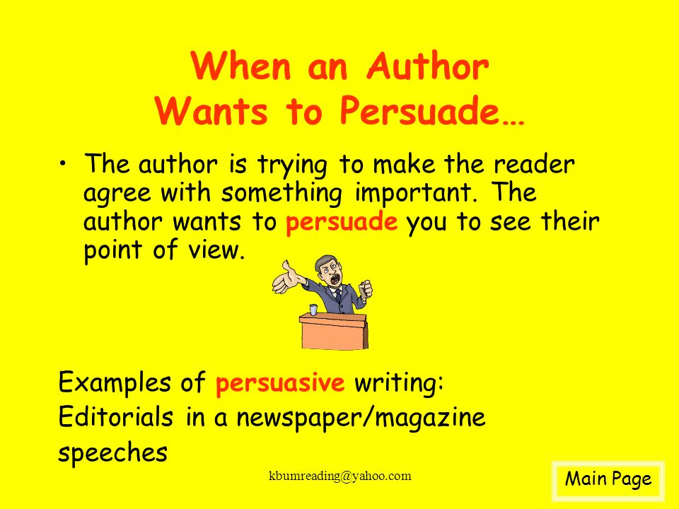 When an Author Wants to Persuade…