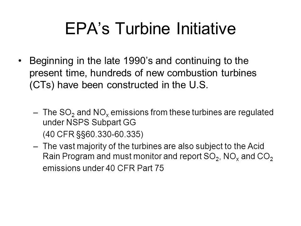 EPA's Turbine Initiative