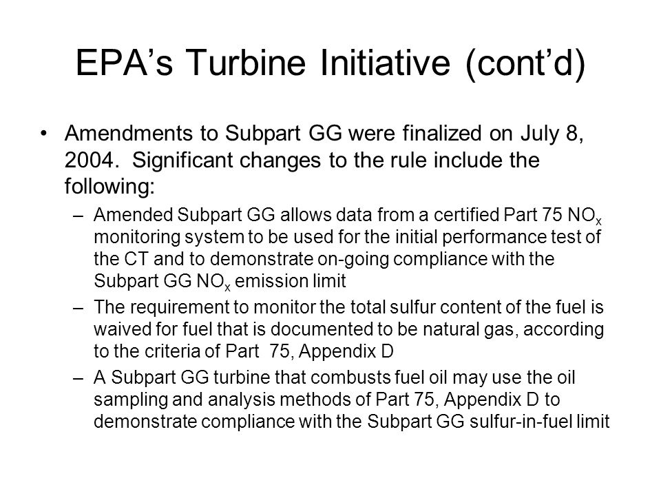 EPA's Turbine Initiative (cont'd)