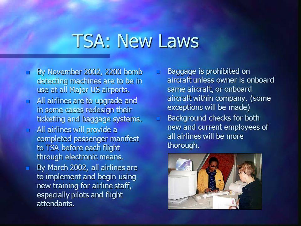 TSA: New Laws
