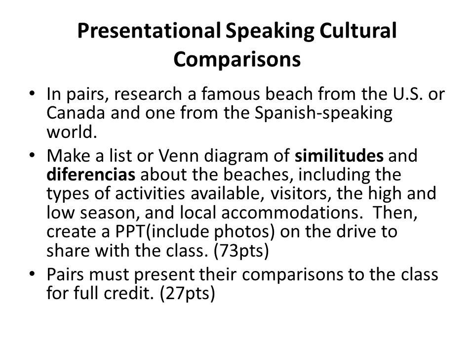 Presentational Speaking Cultural Comparisons