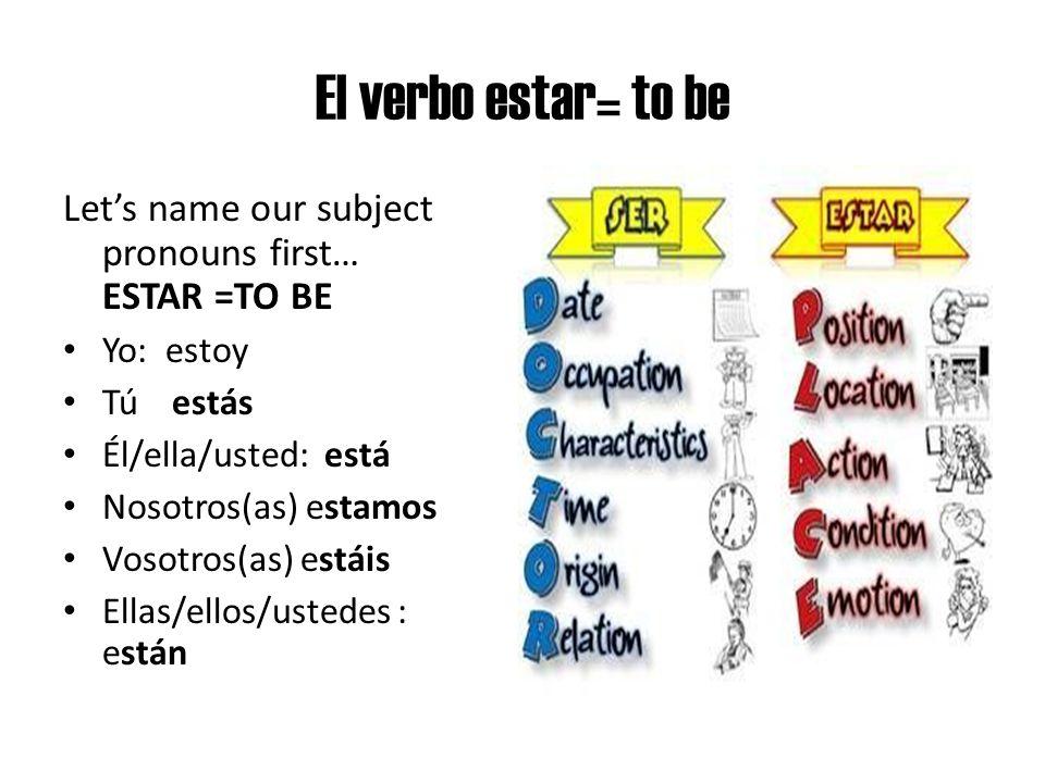 El verbo estar= to be Let's name our subject pronouns first… ESTAR =TO BE. Yo: estoy. Tú estás.