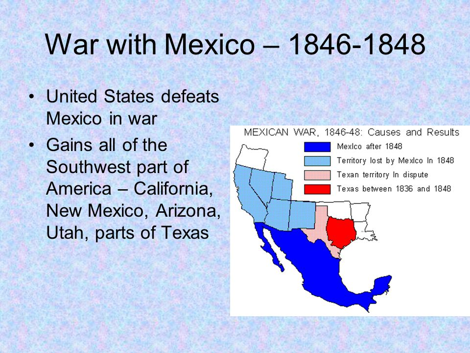 War with Mexico – 1846-1848 United States defeats Mexico in war