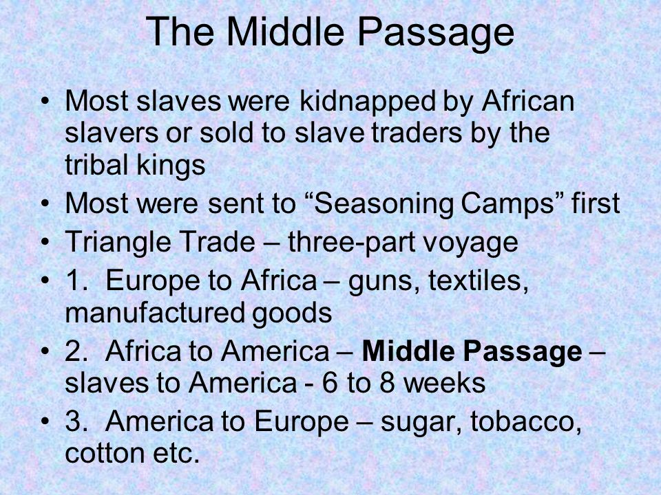 The Middle Passage Most slaves were kidnapped by African slavers or sold to slave traders by the tribal kings.