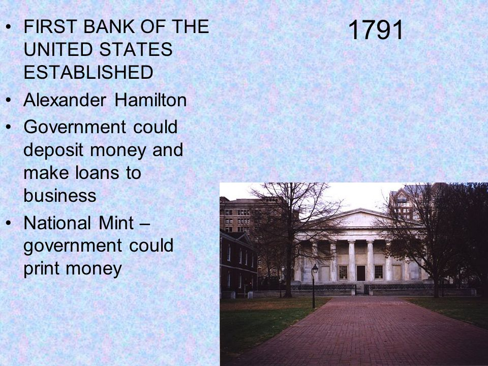 1791 FIRST BANK OF THE UNITED STATES ESTABLISHED Alexander Hamilton