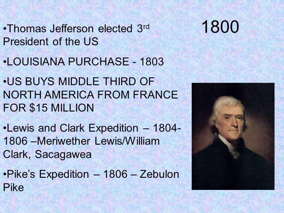 1800 Thomas Jefferson elected 3rd President of the US