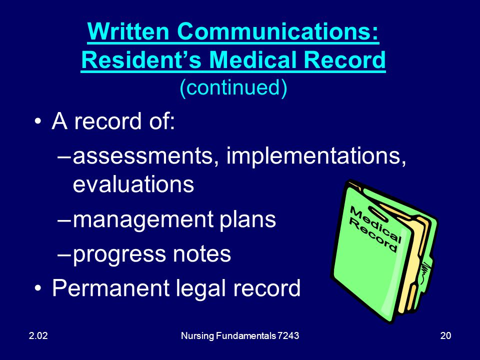 Written Communications: Resident's Medical Record (continued)