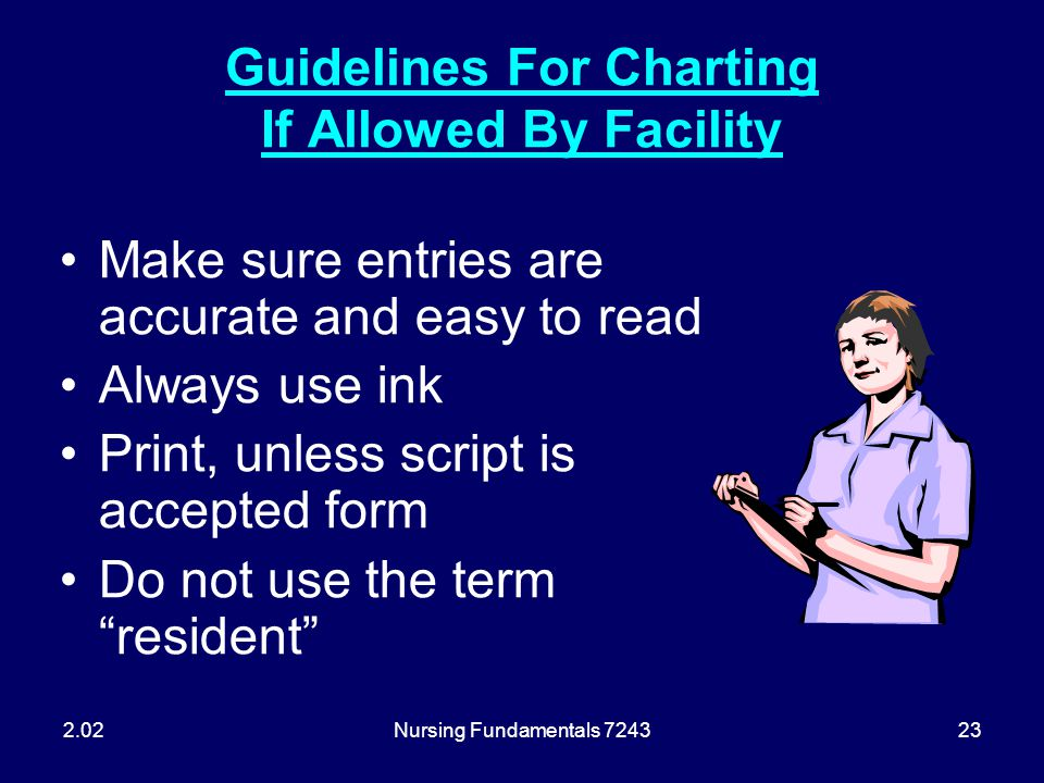 Guidelines For Charting If Allowed By Facility