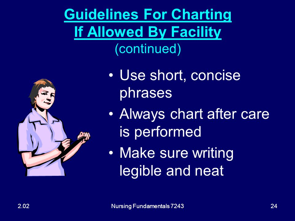 Guidelines For Charting If Allowed By Facility (continued)