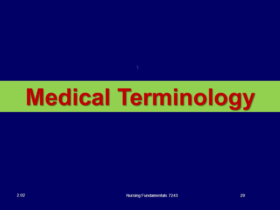Medical Terminology Nursing Fundamentals 7243