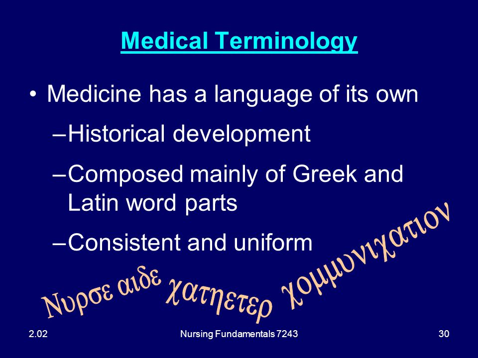 Medicine has a language of its own Historical development