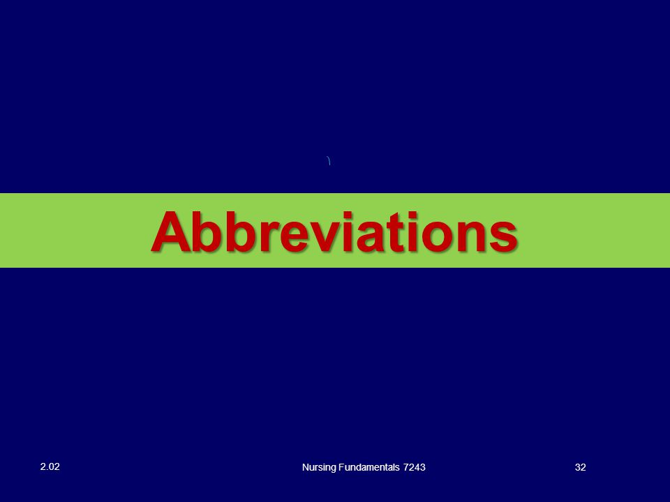 Abbreviations Nursing Fundamentals 7243