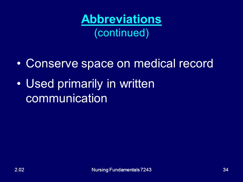Abbreviations (continued)