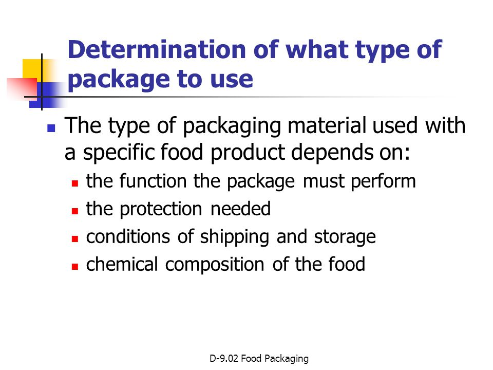 Determination of what type of package to use