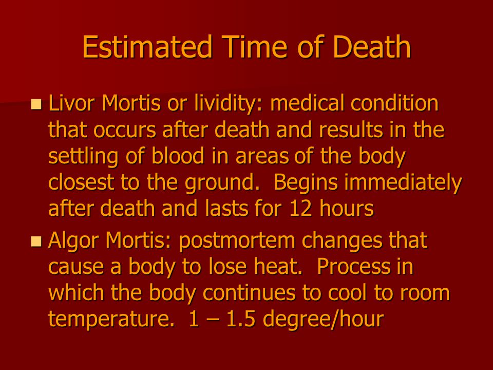 Estimated Time of Death