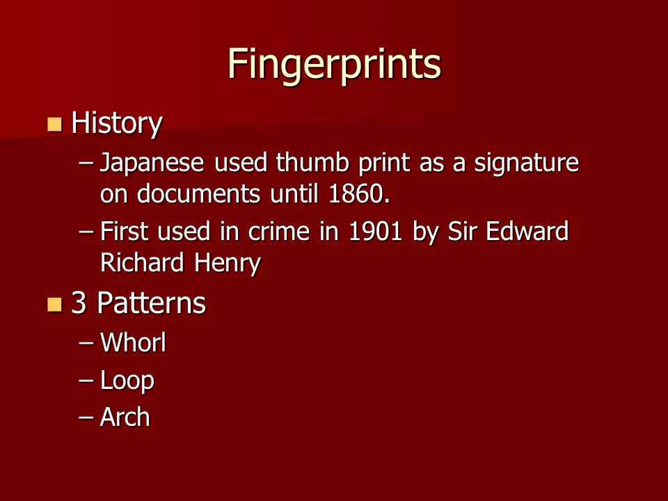 Fingerprints History 3 Patterns