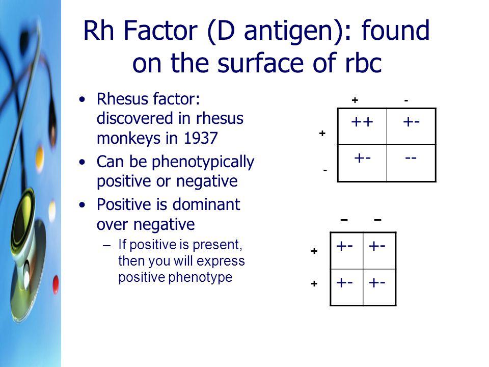 Rh Factor (D antigen): found on the surface of rbc